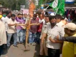 JMM workers and supporters burn effigy of Raghubar Das